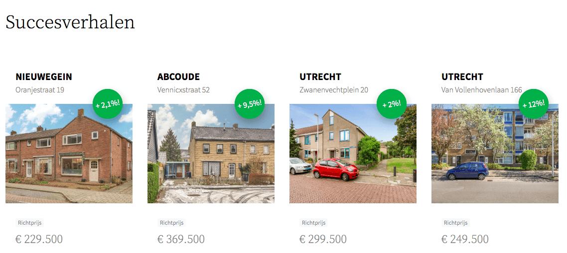Succesverhalen van een aantal woningen, meeste uit provincie Utrecht